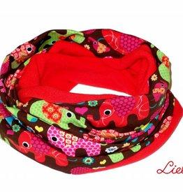 Loopschal warm, bunte Elefanten, rot, pink, gelb, grün, petrol,  auf braun