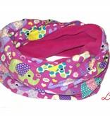 Loopschal warm, bunte Elefanten, grün, gelb, rosa auf lila