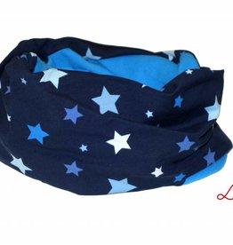 Loopschal warm, blaue und hellblaue Sterne auf dunkelblau