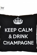 """chillisy® Outdoor pillow """"Keep Calm & Drink Champagne"""" black-white"""