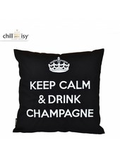 "chillisy® Outdoor cushions ""Keep Calm & Drink Champagne"" black and white"