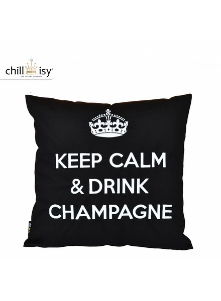 """chillisy® Outdoor cushions """"Keep Calm & Drink Champagne"""" black and white"""