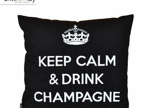 """chillisy® Outdoor Kissen """"Keep Calm & Drink Champagne"""" schwarz-weiß"""