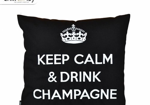 "chillisy® Outdoor pillow ""Keep Calm & Drink Champagne"" black-white"