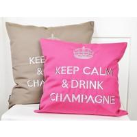 "Outdoor Kissen ""Keep Calm & Drink Champagne"" pink-silber, türkis-silber"
