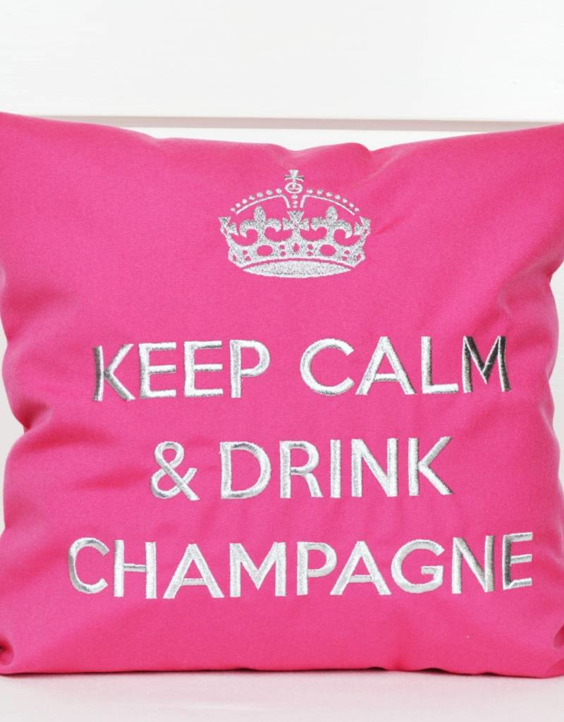 """chillisy® Outdoor Kissen """"Keep Calm & Drink Champagne"""" pink-silber"""