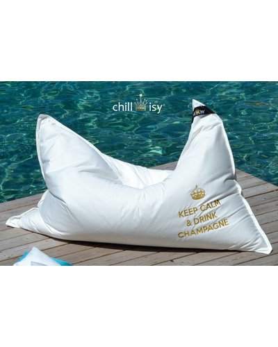 "chillisy® OUTDOOR LOUNGE CUSHION MAXI: ""KEEP CALM & DRINK CHAMPAGNE"" 