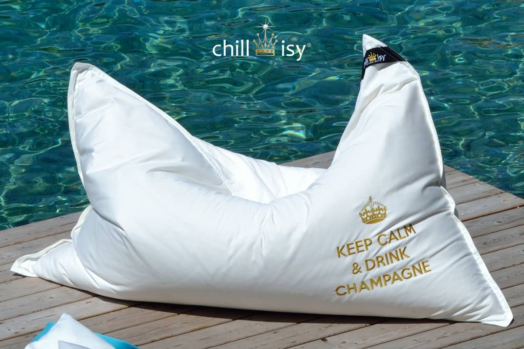 "chillisy® OUTDOOR LOUNGEKISSEN MAXI: ""KEEP CALM & DRINK CHAMPAGNE"" 