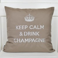 """Luminous pillow """"Keep Calm & Drink Champagne"""", taupe and white"""