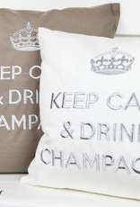 """chillisy® Outdoor Kissen """"Keep Calm & Drink Champagne"""" taupe-silber"""