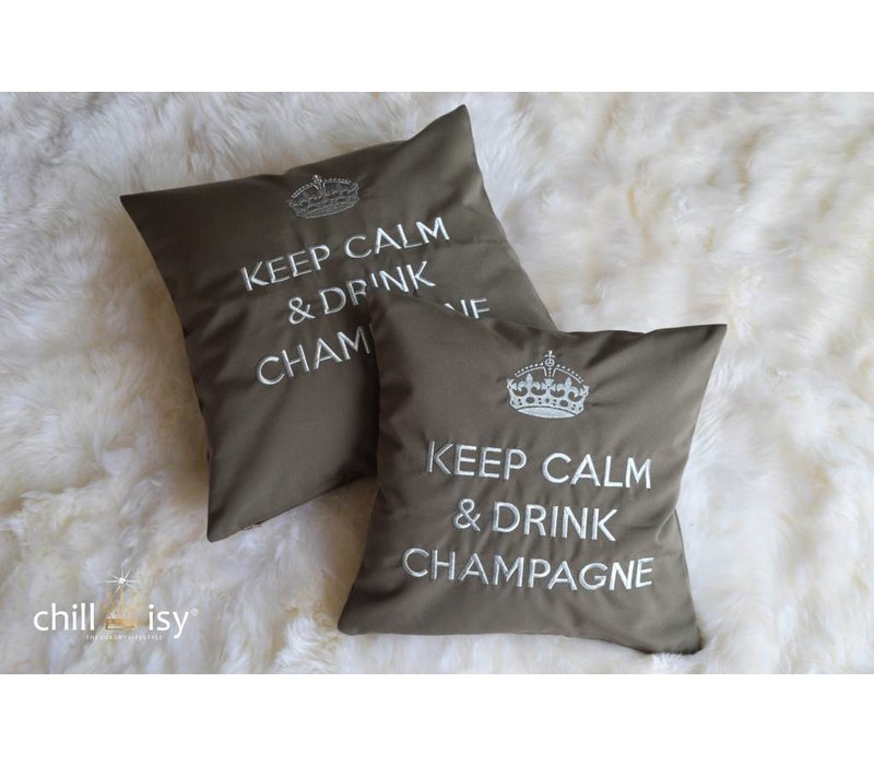 """Outdoor Kissen """"Keep Calm & Drink Champagne"""" taupe-silber"""