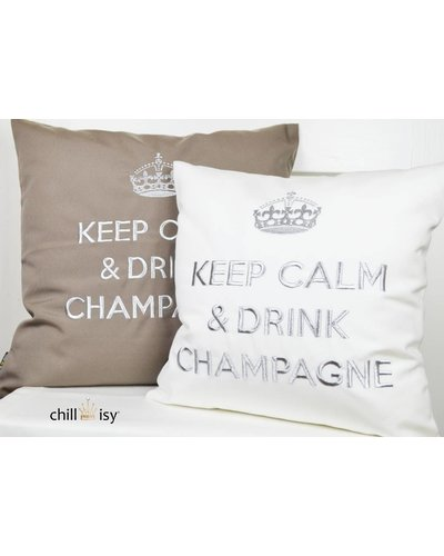 """chillisy® White pillow """"Keep Calm & Drink Champagne"""" white-silver"""