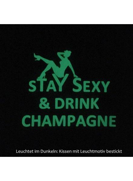"chillisy® Luminous pillow ""Stay Sexy & Drink Champagne"""