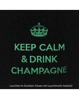 "chillisy® Luminous pillow ""Keep Calm & Drink Champagne"", taupe and white"