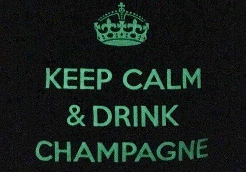 """chillisy® Leucht-Kissen """"Keep Calm & Drink Champagne"""", taupe-weiß"""