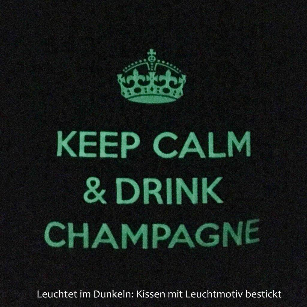 """chillisy® Luminous pillow """"Keep Calm & Drink Champagne"""", taupe and white"""