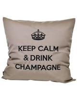 "chillisy® Cushion ""Keep Calm & Drink Champagne"" taupe black"