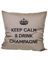 """chillisy® Kissen """"Keep Calm & Drink Champagne"""" taupe-schwarz"""