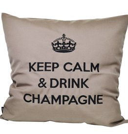 """chillisy® Outdoor cushions """"Keep Calm & Drink Champagne"""" taupe-black"""