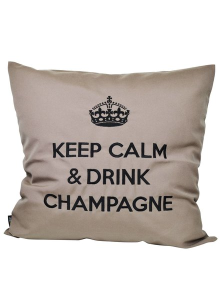 "chillisy® Outdoor Kissen ""Keep Calm & Drink Champagne"" taupe-schwarz"