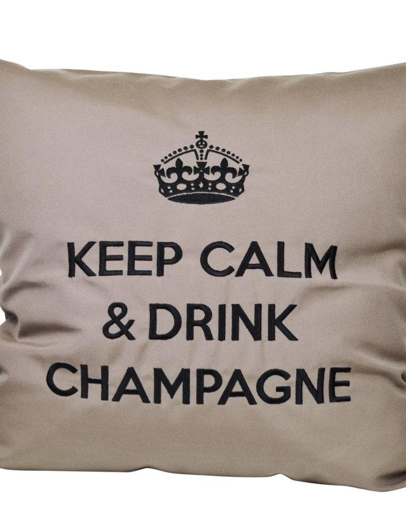 """chillisy® Outdoor Kissen """"Keep Calm & Drink Champagne"""" taupe-schwarz"""
