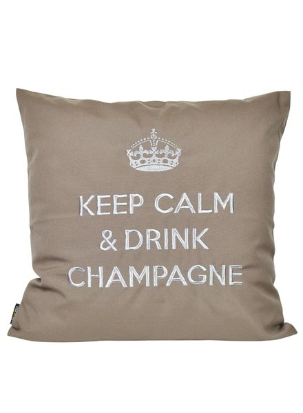 "chillisy® Outdoor cushions ""Keep Calm & Drink Champagne"" taupe-silver"