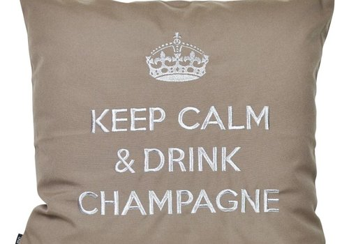 "chillisy® Outdoor Kissen ""Keep Calm & Drink Champagne"" taupe-silber"