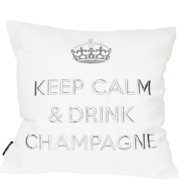 "chillisy® Cushion ""Keep Calm & Drink Champagne"" white-silver"