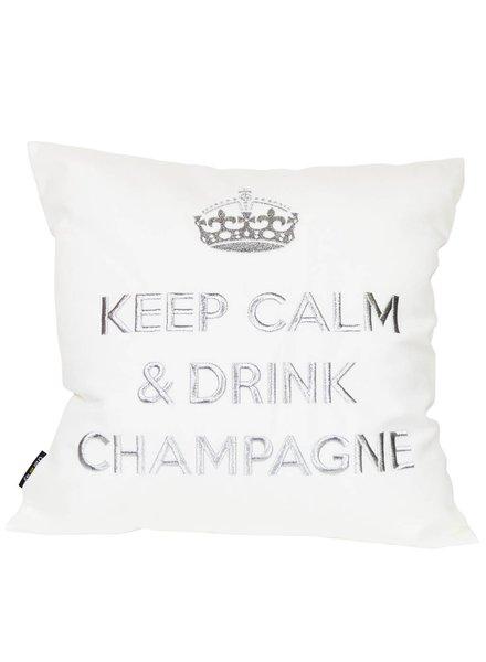 """chillisy® Kissen """"Keep Calm & Drink Champagne"""" weiß-silber"""