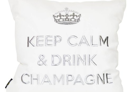 "chillisy® Cushion ""Keep Calm & Drink Champagne"" white-silver"