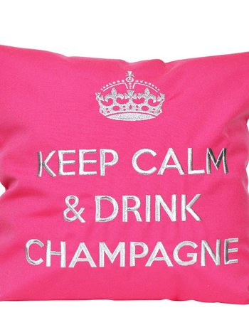 "chillisy® Cushion ""Keep Calm & Drink Champagne"" pink-silver, turquoise and silver"