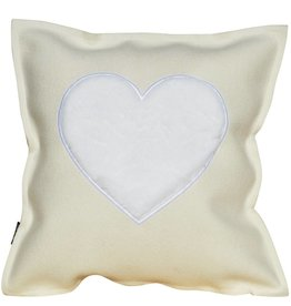 "Felt Cushion ""FROM THE HEART"" wollweiß / white"