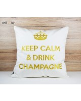 "chillisy® Cushion ""Keep Calm & Drink Champagne"" white-gold"
