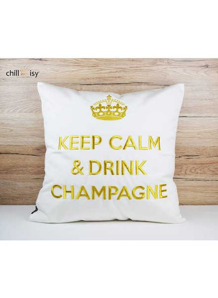 "chillisy® Outdoor Kissen ""Keep Calm & Drink Champagne"" weiß-gold"