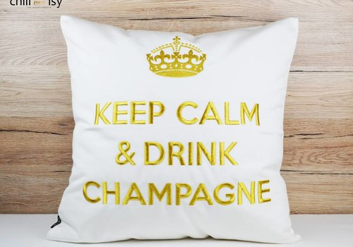 "chillisy® Outdoor cushions ""Keep Calm & Drink Champagne"" white-gold"