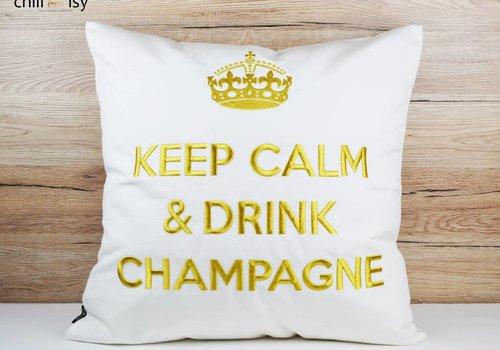 """chillisy® Outdoor Kissen """"Keep Calm & Drink Champagne"""" weiß-gold"""