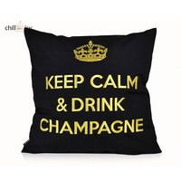 """Outdoor Kissen """"Keep Calm & Drink Champagne"""" schwarz-gold"""