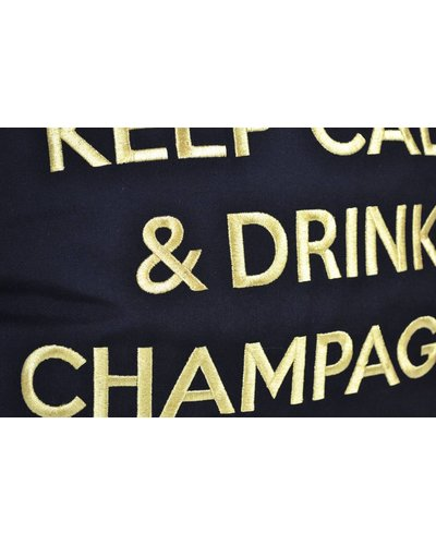 "chillisy® Outdoor cushions ""Keep Calm & Drink Champagne"" black-gold"