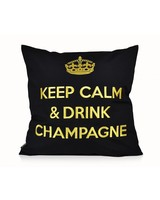 "chillisy® Cushion ""Keep Calm & Drink Champagne"" black-gold"