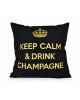 """chillisy® Kissen """"Keep Calm & Drink Champagne"""" schwarz-gold"""