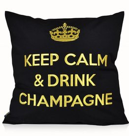 """chillisy® Outdoor cushions """"Keep Calm & Drink Champagne"""" black-gold"""