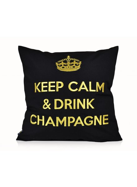 "chillisy® Outdoor Kissen ""Keep Calm & Drink Champagne"" schwarz-gold"