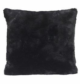 Faux fur Kissen, schwarz 45x45