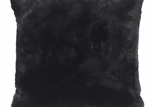 Faux fur pillows, black 45x45