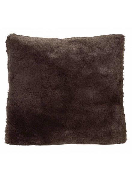 Faux fur pillows, chocolate 45x45