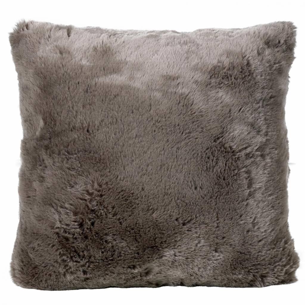 Faux fur kissen taupe 45 x 45 online shop - Kissen fur loungemobel ...