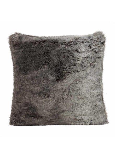 Faux fur cushion, gray-black 60x60