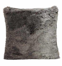 Faux fur Kissen, grau-schwarz 45x45
