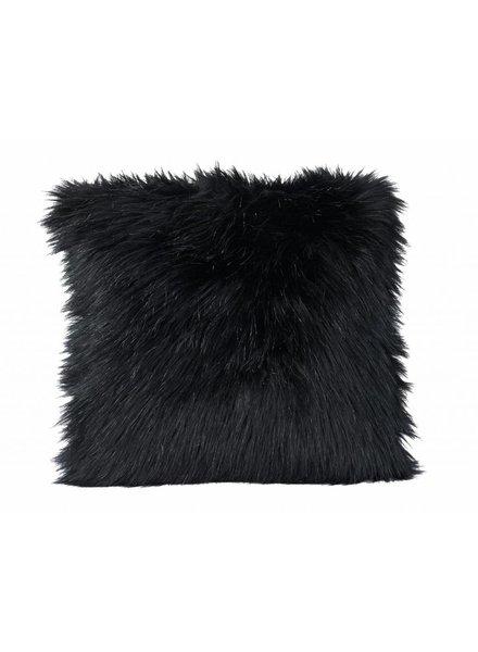 Faux fur Cushion, black 45x45
