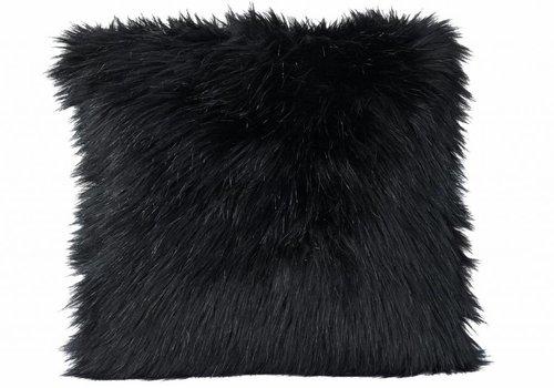 Faux fur Kisse, schwarz 45x45